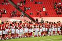 De spelers en begeleiding van Kansas City Chiefs voorafgaand aan het duel met Houston Texans.