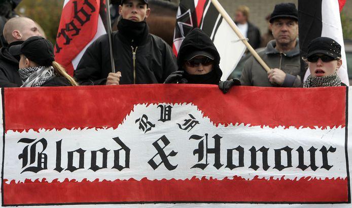 Demonstratie van extreem rechts, NVU (Nederlandse Volks-Unie).