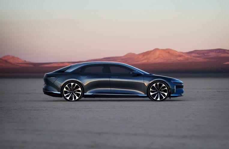Lucid Air, een van de te duchten uitdagers voor Tesla, met zijn actieradius van 832 kilometer en supersnel opladen. Beeld Lucid Motors