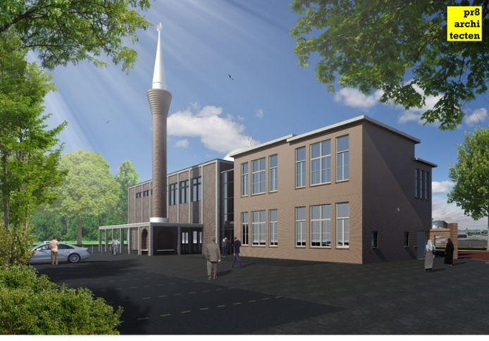 De minaret komt aan de achterkant van de moskee.