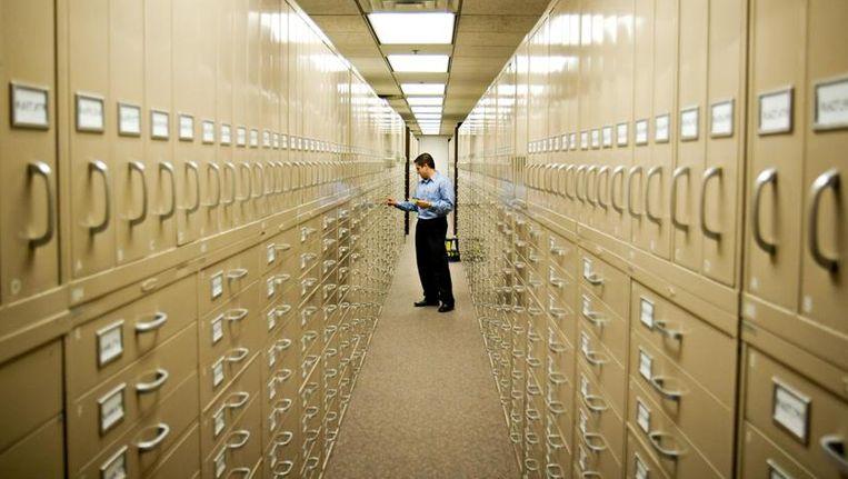 Archiefkasten van een genealogisch centrum in de buurt van het mormoonse hoofdkwartier in Salt Lake City, Utah. Beeld Mormon Newsroom