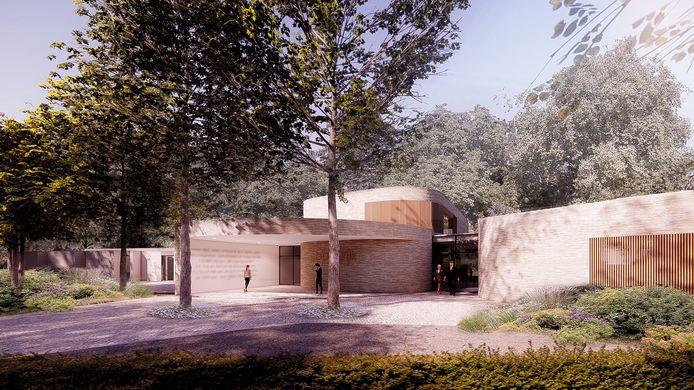 Ronde vormen en natuurlijke kleuren typeren het crematorium aan de Docfalaan in Oss.
