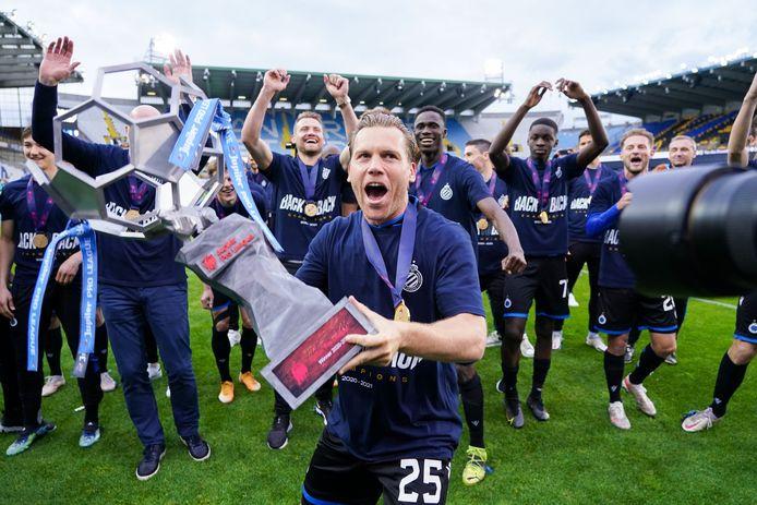 Ruud Vormer bij de titelviering van Club Brugge afgelopen seizoen.