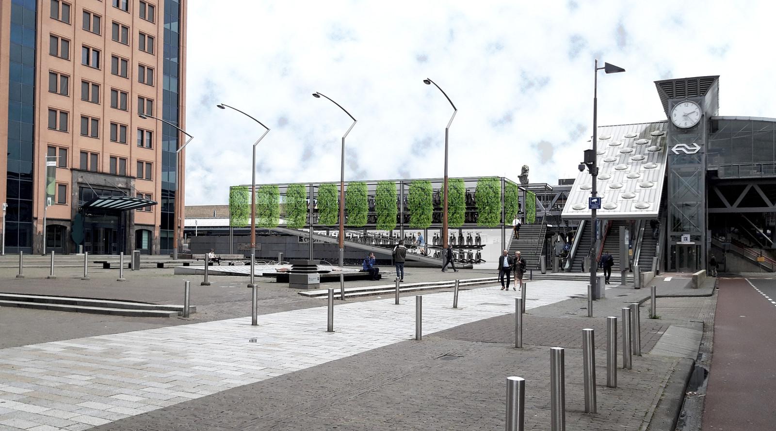De in het goen verpakte nieuwe stalling met trap en hellingbaan, gezien vanaf het Leonardo da Vinciplein.