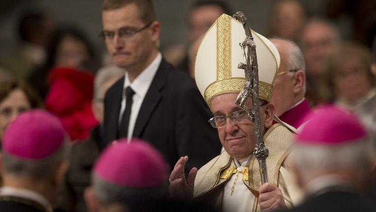 Paus Franciscus gisteren. Beeld ap