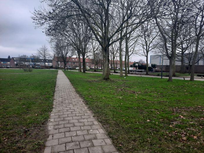 Een gedeelte van het Heversloterrein in Oudheusden. Rechts is een deel van sporthal De Kubus te zien.
