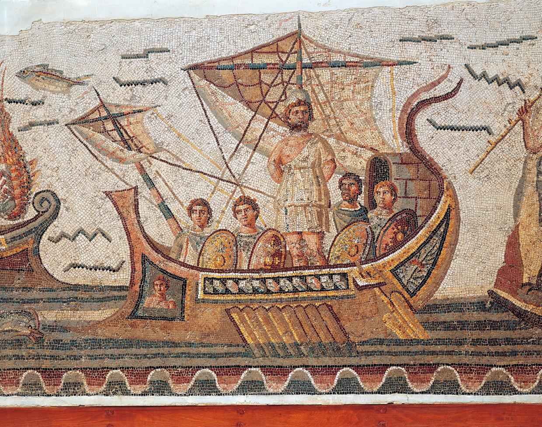 Mozaïek van Odysseus en zijn metgezellen op een boot, uit 260 na Christus.