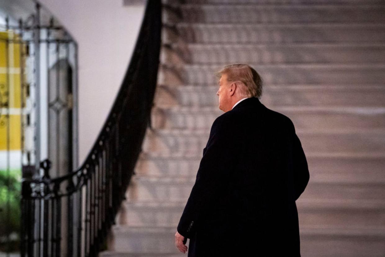Donald Trump op 12 december Beeld Getty Images