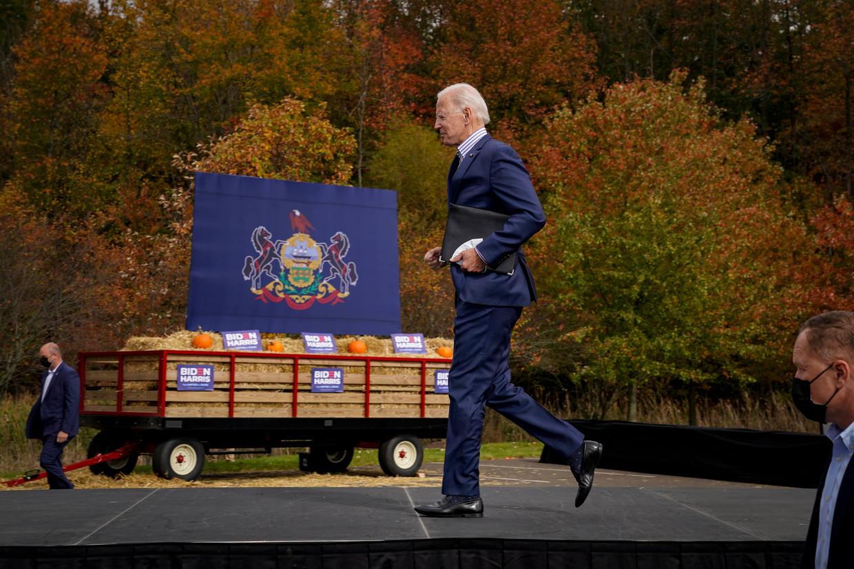 Het 'vitale' campagneloopje van Joe Biden.  Beeld Getty Images
