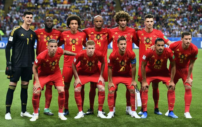 De elf van België die vanavond in Kazan met 2-1 wonnen van Brazilië.