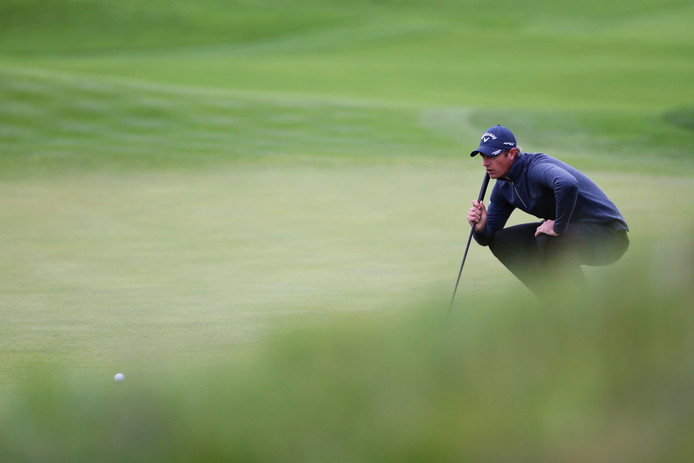 Nicolas Colsaerts of Belgium lines up a putt during the last day of the Amundi French Open, at Le Golf National in Saint-Quentin-en-Yvelines, outside Paris, France, Sunday, Oct. 20, 2019. (AP Photo/Thibault Camus)