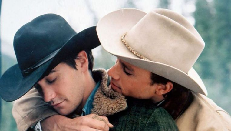 Jake Gyllenhaal en Heath Ledger in Brokeback Mountain. Beeld