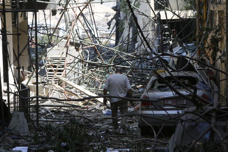 Beiroet ligt in puin na de explosie.  Beeld Getty Images