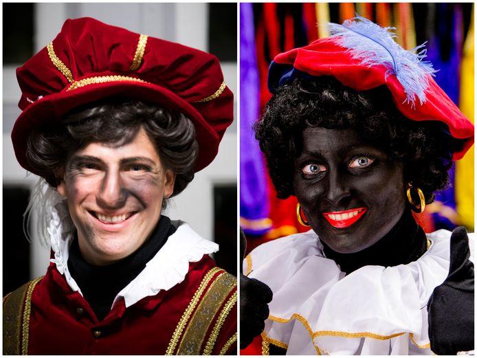 Een roetveegpiet zoals links mag wel op Facebook, Zwarte Piet niet.