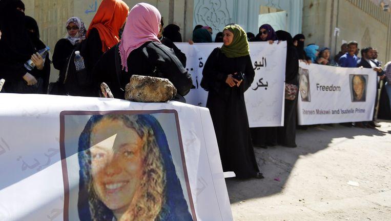 Activisten in Jemen demonstreren in maart van dit jaar voor de vrijlating van Isabelle Prime. Beeld anp