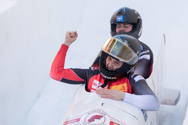 Sabina Hafner (vooraan) met teamgenote Eveline Rebsamen tijdens een WB-wedstrijd in St. Moritz.