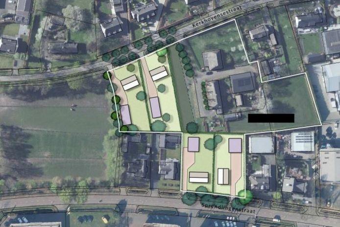 Plan voor woonwerkkavels op bedrijventerrein Kerkhoven in Oisterwijk, grenzend aan de woonboerderij van Frans Vermeer.
