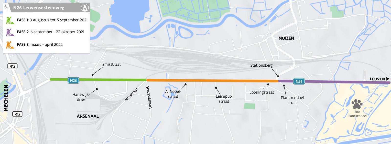 Een kaartje met de fasering van de werkzaamheden op de Leuvensesteenweg in Mechelen.