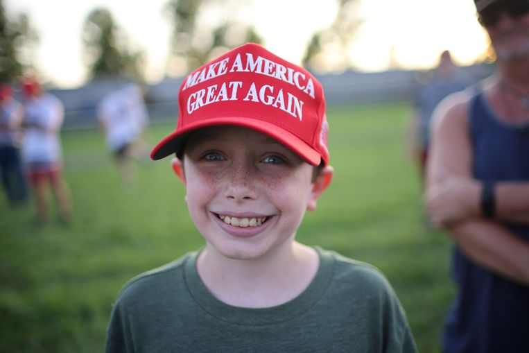 Een jonge bewonderaar van Donald Trump.  Beeld Getty Images