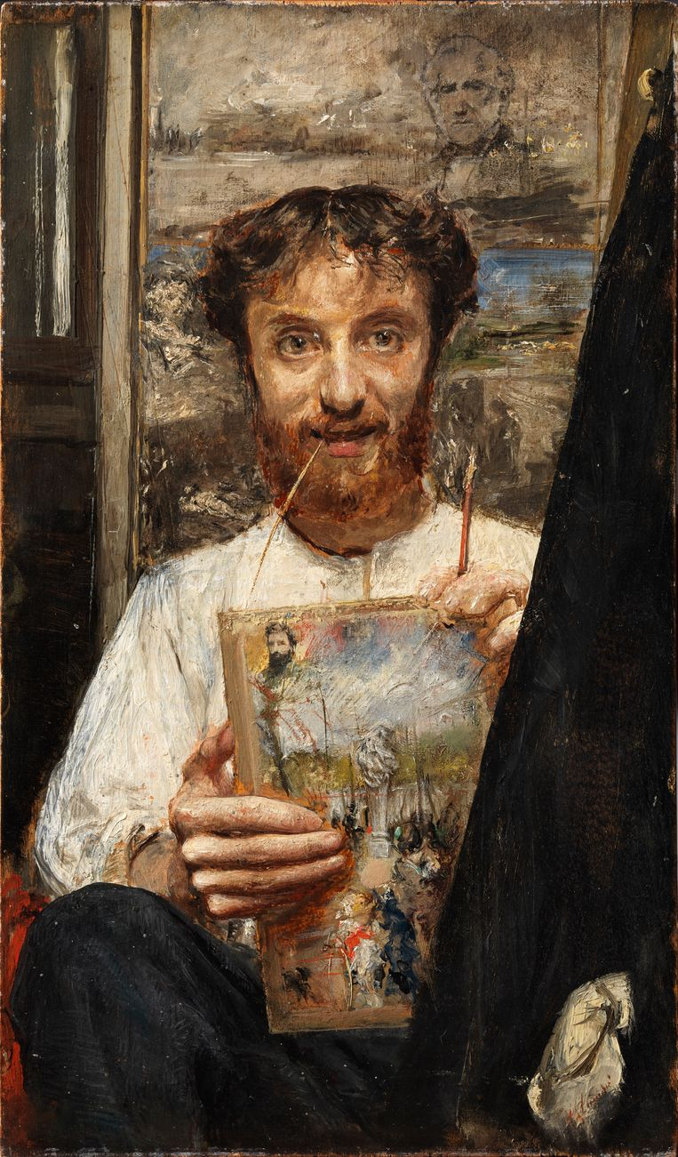 Antonio Mancini, 'Zelfportret met strootje', ca. 1880, Privécollectie (met dank aan kunsthandel Bottegantica), Milaan Beeld Privécollectie