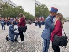 """""""Tous mes vœux de bonheur"""": Macron réagit à la demande en mariage d'un soldat juste avant le défilé du 14-Juillet"""