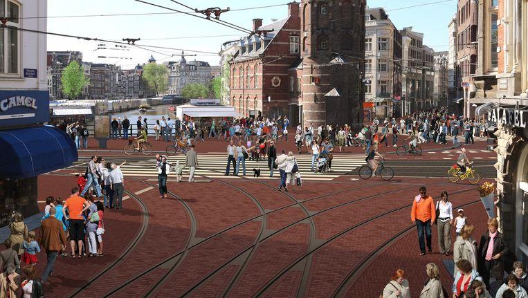 Een artist impression van het nieuwe Muntplein. Beeld