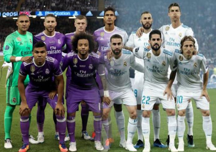 De elftallen van Real Madrid in de finales van 2017 en 2018, in elkaar overlopend