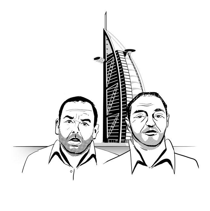 Daniel Kinahan en Ridouan Taghi met op de achtergrond het zevensterren Burj al Arab-hotel in Dubai.