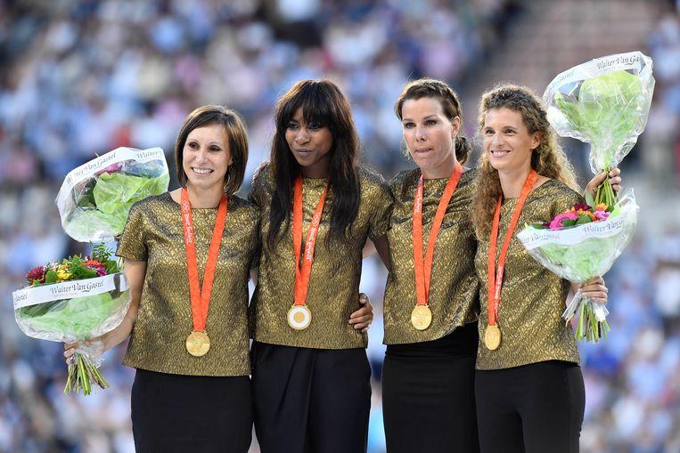 Kim Gevaert, Belgian Elodie Ouedraogo, Hanna Mariën en Olivia Borlee. Beeld BELGA