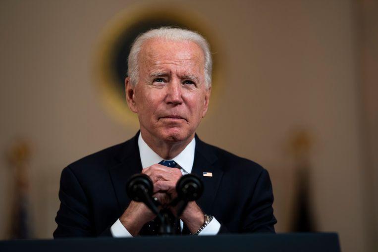 De Amerikaanse president Joe Biden reageerde op de uitspraak van de jury, die politieman Derek Chauvin schuldig acht aan de dood van George Floyd.  Beeld EPA