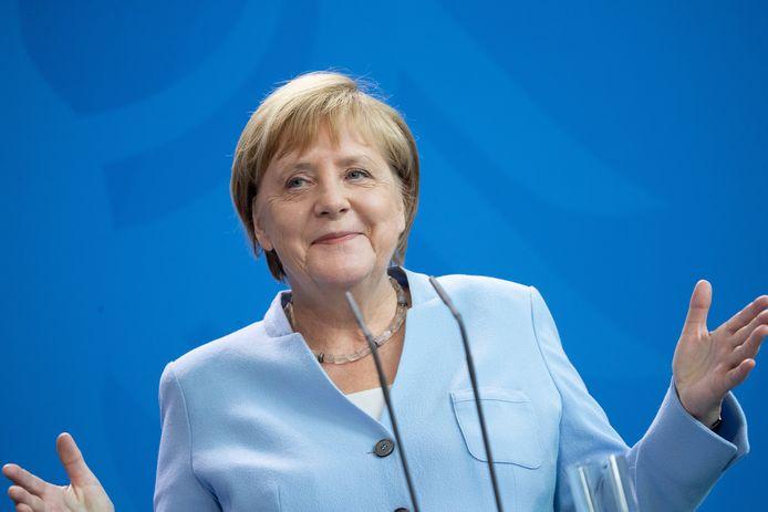 """Angela Merkel, woensdag in de Bondskanselarij. """"Er komen geen conjunctuurmaatregelen."""""""