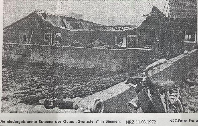 Een schuur bij de grensboerderij van Wassenberg brandde in 1972 af. Daarbij lieten ook 60 varkens het leven.