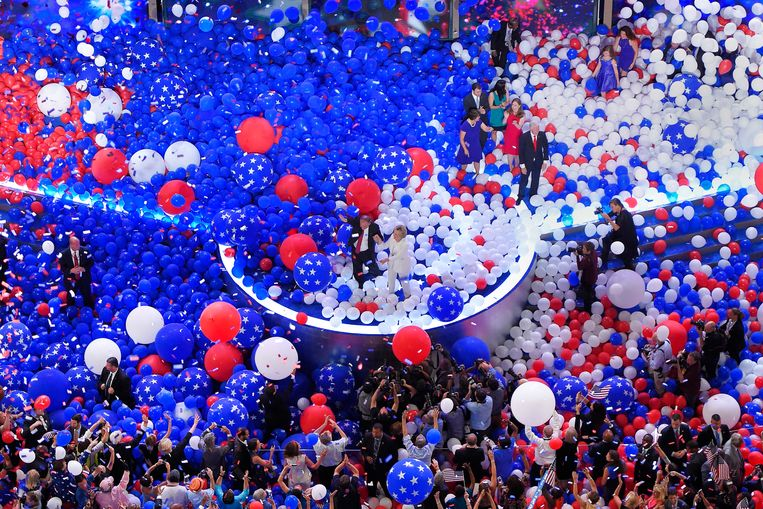 29 juli 2016: Hillary Clinton wordt op de Democratische partijconventie in Virginia officieel aangesteld als presidentskandidaat.