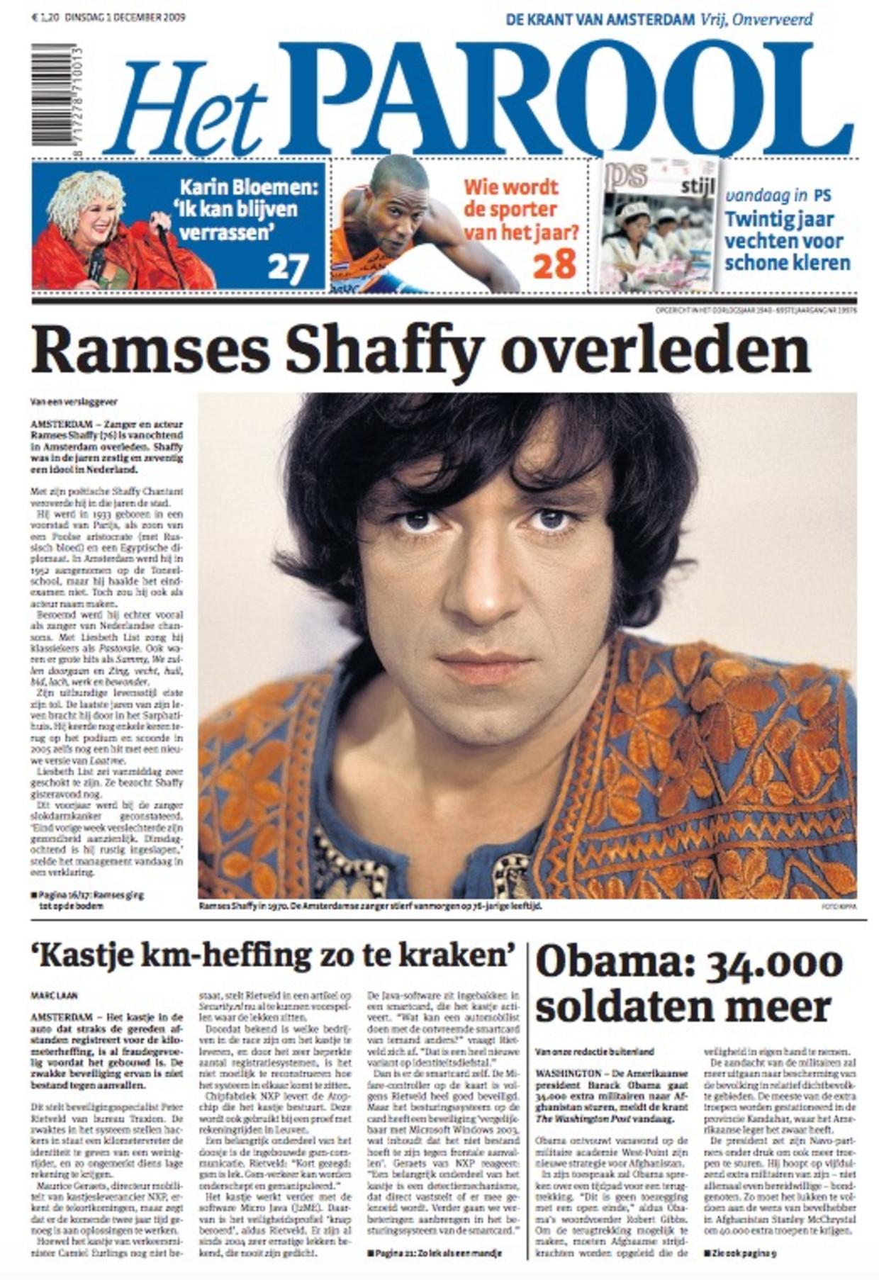 De cover van Het Parool op 1 december 2009. Beeld Het Parool