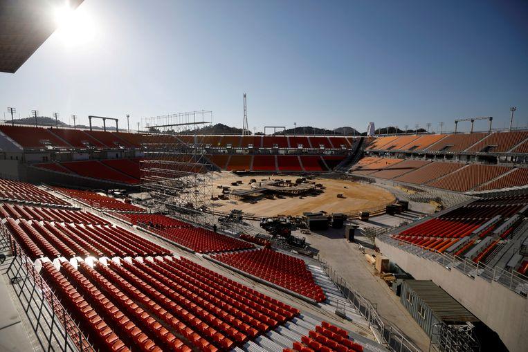 Het onoverdekte stadion in Pyeongchang.  Beeld REUTERS