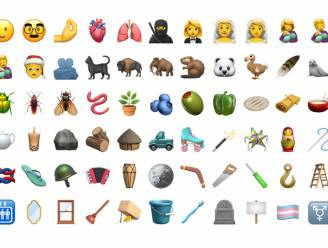 Een greep uit de nieuwste emoji's: een lach met een traan, een transgendervlag, een dodo en een flipflop