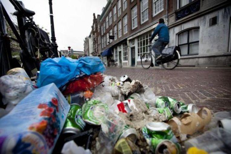 In Utrecht en Amsterdam staakten de gemeentelijke veeg- en vuilophaaldienst. ANP Beeld