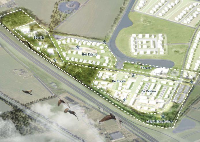 De schets van de nieuwbouwwijk aan de N35.