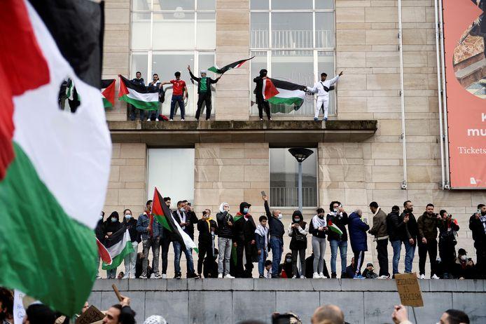 Ook in België zakten 16.000 pro-Palestijnse betogers af naar Brussel op 15 mei 2021.