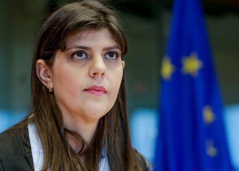 Laura Codruta Kövesi tijdens een hoorzitting in het Europees Parlement, dinsdag in Brussel.  Beeld EPA