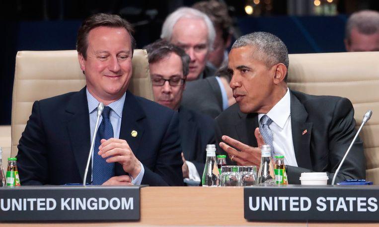 De Britse premier David Cameron en de Amerikaanse president Barack Obama. Beeld AP