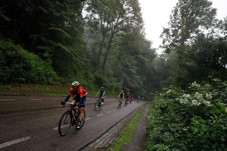 Renners in actie tijdens de klimrace over de Limburgse heuvels. Beeld ANP
