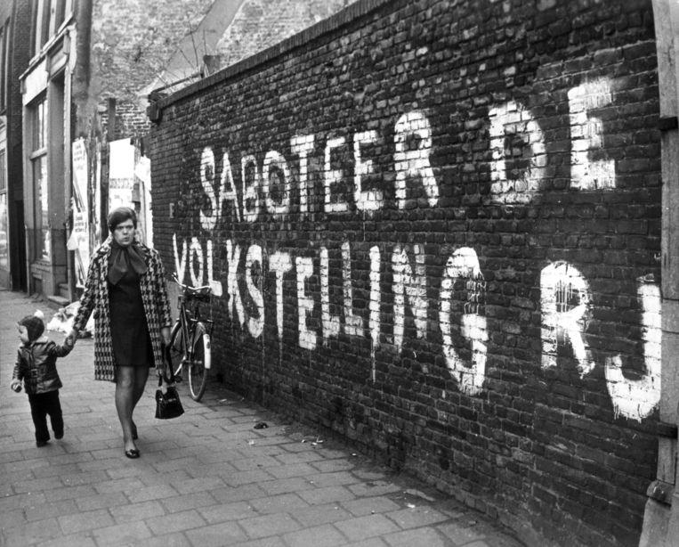 Protest tegen de volkstelling op een muur in Amsterdam, 8 februari 1971. Beeld HH