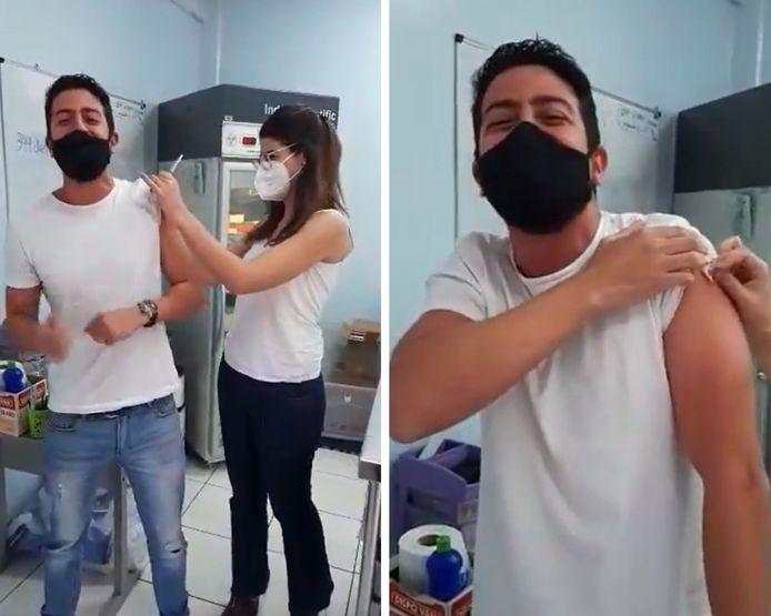 Un journaliste fait vivre sa vaccination contre le Covid-19 comme s'il commentait un match de football.