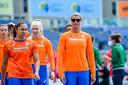 Dafne Schippers tijdens de training van de 4x100m-teams van de Nederlanders op de World Relays in Polen.