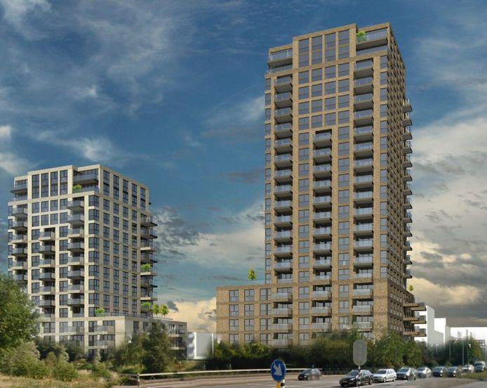 Woontoren Cadenza aan de Hogeweg telt straks twintig verdiepingen. Ernaast verrijst Rondine.